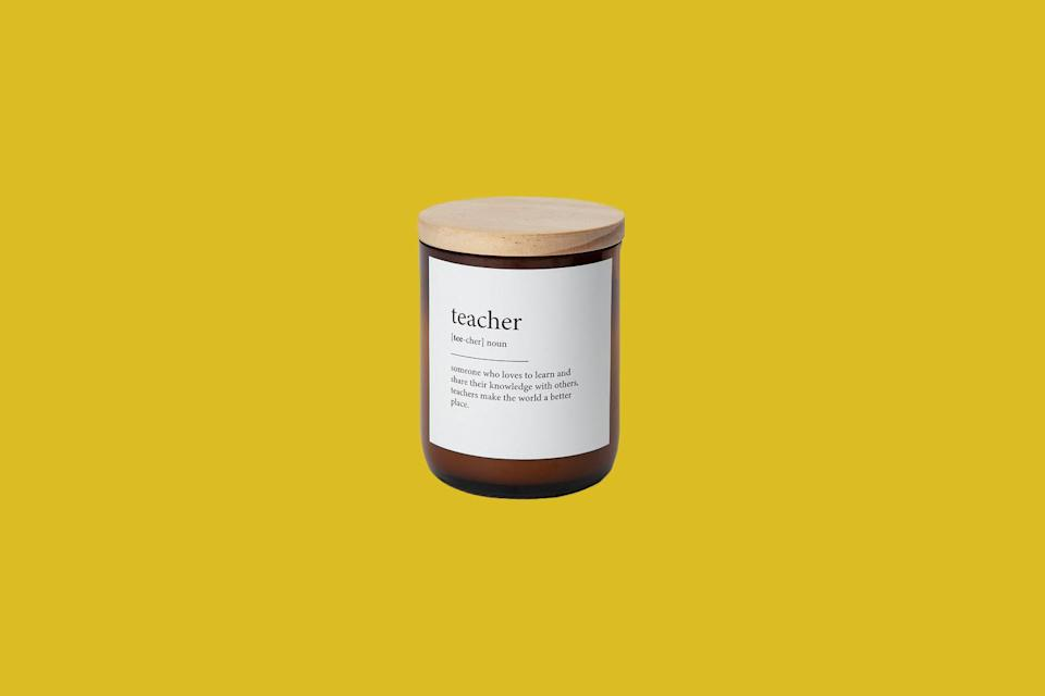 "<p>A teacher is defined by their legacy, and this gift evokes the sentiment beautifully. Handmade in Australia, this candle is poured from soy wax into a recycled bottle.</p> <p><strong><em>Shop Now: </em></strong><em>Fibi Tunks ""Teacher"" Scentiment Candle, $35, <a href=""https://uncommongoods.sjv.io/c/249354/483884/8444?subId1=MSL27HolidayGiftsforYourFavoriteTeacherrhaarsChrGal7992515202010I&u=https%3A%2F%2Fwww.uncommongoods.com%2Fproduct%2Fscentiment-candles%23508790000003"" rel=""nofollow noopener"" target=""_blank"" data-ylk=""slk:uncommongoods.com"" class=""link rapid-noclick-resp"">uncommongoods.com</a></em><em>.</em></p>"