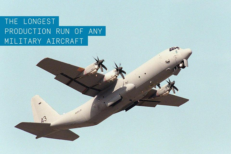 """<p>This four-engine turboprop military transport built by Lockheed Martin has been in continuous production longer than any other military aircraft. In its 50 years of service it has earned the reputation at being the most flexible and versatile workhorse of the armed forces. </p><p>✈ <strong><a href=""""https://www.popularmechanics.com/military/aviation/a26156/c-130-badass-plane/"""" rel=""""nofollow noopener"""" target=""""_blank"""" data-ylk=""""slk:Why the C-130 is Such a Badass Plane"""" class=""""link rapid-noclick-resp"""">Why the C-130 is Such a Badass Plane</a></strong></p><p>Originally designed as a troop and cargo transport aircraft that could operate on unimproved runways, the C-130 has found its way into serving as gunship as well as a platform for research, search and rescue, aerial refueling, and many other roles. More than 40 variations of the venerable plane have been delivered to more than 70 nations since its first flight in 1954. In sum, the C-130 has logged more than 1.2 million hours in the air.<br></p>"""
