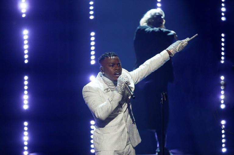 """US rapper DaBaby rocked several fashion looks at the Grammys including this one during a performance of """"Rockstar"""""""