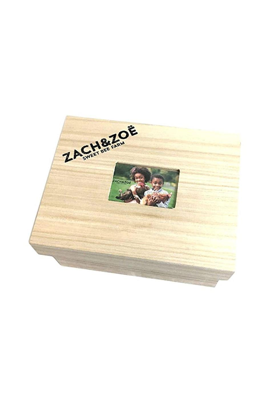 """<p><strong>Zach & Zoe Sweet Bee Farm</strong></p><p>amazon.com</p><p><strong>$50.00</strong></p><p><a href=""""https://www.amazon.com/dp/B08KJ356RX?tag=syn-yahoo-20&ascsubtag=%5Bartid%7C10050.g.34621820%5Bsrc%7Cyahoo-us"""" rel=""""nofollow noopener"""" target=""""_blank"""" data-ylk=""""slk:Shop Now"""" class=""""link rapid-noclick-resp"""">Shop Now</a></p><p>This honey, sustainably harvested on Kam and Summer Johnson's farm in central New Jersey, is packed with antioxidants, vitamins, and amino acids that, when added to a cup of tea or a bowl of freshly-made oatmeal, make for a delicious, nutritious way to start the day.</p>"""