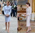 <p>From the Peter Pan collar to the belted waist, the pale blue Catherine Walker outfit Kate Middleton wore for a visit to the Netherlands looks strikingly similar to what Angelina Jolie wore during her visit to Buckingham Palace.</p>