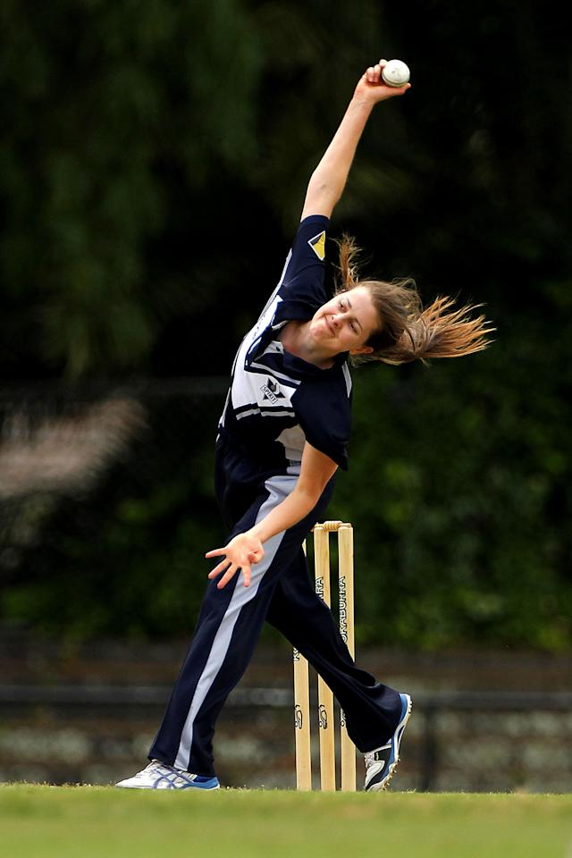 MELBOURNE, AUSTRALIA - NOVEMBER 24:  Molly Strano of the Spirit bowls during the WNCL match between the Victoria Spirit and the South Australia Scorpions at Camberwell Sports Ground on November 24, 2012 in Melbourne, Australia.  (Photo by Graham Denholm/Getty Images)