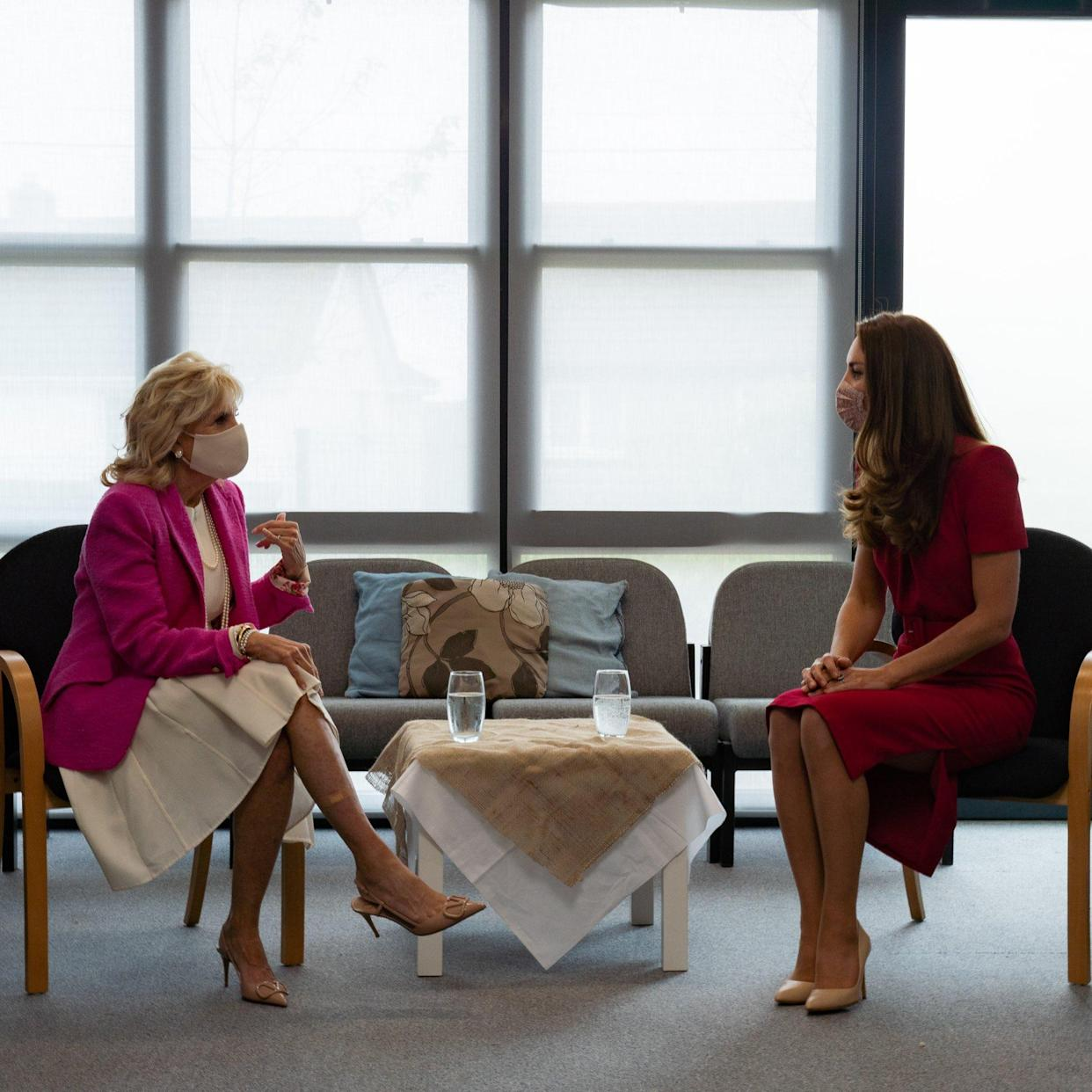 The Duke and Duchess of Cambridge later shared this photo as the two women sat down for a one on one chat. (Kensington Palace)