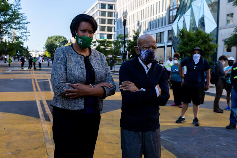 Mayor of Washington, D.C. Muriel Bowser and Congressman Rep. John Lewis (GA) are seen in Black Lives Matter Plaza, in front of the White House, in Washington, D.C. June 7, 2020. (Photo by Aurora Samperio/NurPhoto via Getty Images)