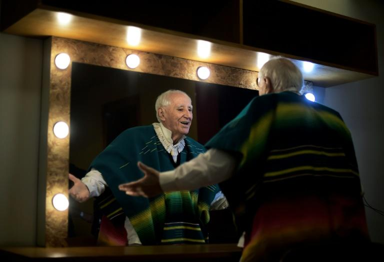 Ze Celso, 82, gets ready backstage before a performance of Roda Viva in Rio de Janeiro: when it was originally staged during the dictatorship, police stormed the theatre and beat up the performers