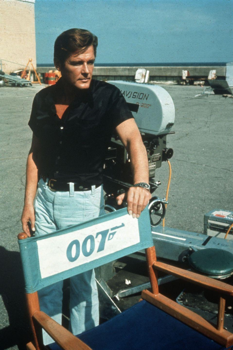<p>Roger Moore, who portrayed James Bond in <em>Live and Let Die</em>, is seen on set. It was the eighth James Bond film for the franchise.</p>