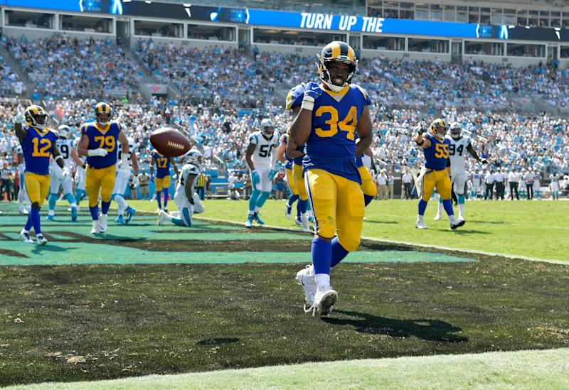 CHARLOTTE, NORTH CAROLINA - SEPTEMBER 08: Malcolm Brown #34 of the Los Angeles Rams scores a touchdown against the Carolina Panthers during the third quarter of their game at Bank of America Stadium on September 08, 2019 in Charlotte, North Carolina. (Photo by Grant Halverson/Getty Images)