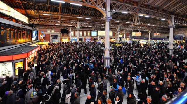 Passengers at Victoria Station in London before the pandemic hit passenger numbers