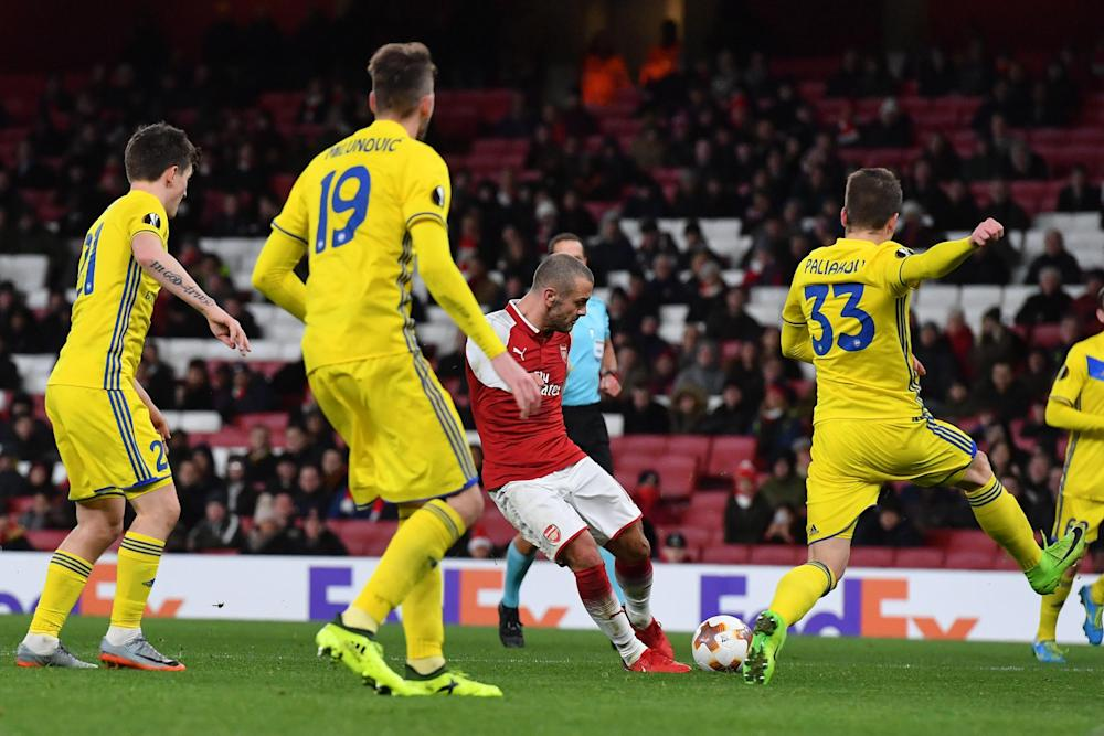 Jack Wilshere scores with a powerful finish: Getty