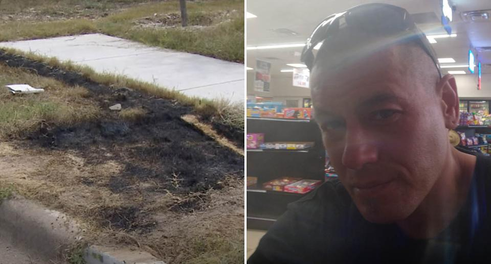 A charred patch of grass is pictured in Fort Worth, Texas. Also pictured is 42-year-old David Lueras.