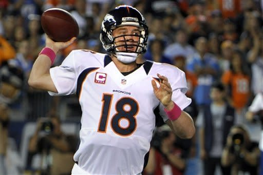 Denver Broncos quarterback Peyton Manning throws a pass against the San Diego Chargers during the first half of an NFL football game, Monday, Oct. 15, 2012, in San Diego. (AP Photo/Denis Poroy)