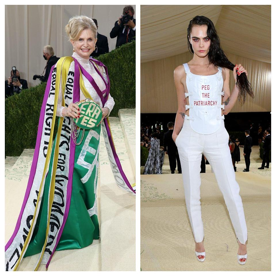 Congresswoman Carolyn B. Maloney (left) and supermodel Cara Delevingne (right) also made political statements on the Met Gala red carpet - Jeff Kravitz/FilmMagic/ Getty Images