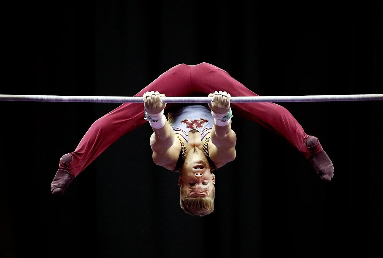 <p>Men's high bar is fairly similar to the women's uneven bar event in terms of the elements. Gymnasts are scored on various grips, swings, aerial work, turns, and a dismount.</p>
