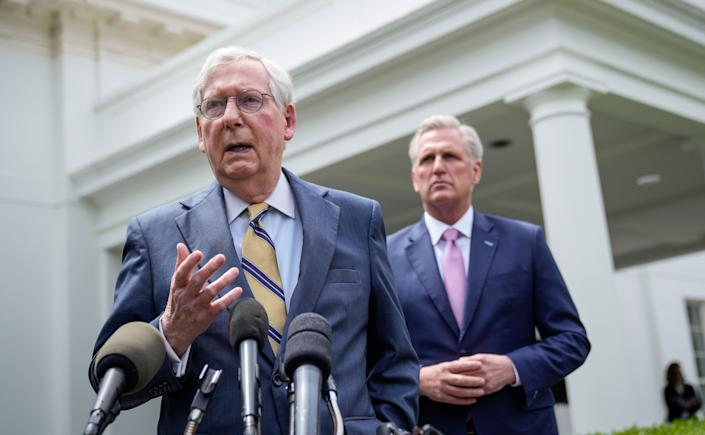 Senate Minority Leader Mitch McConnell (R-Ky.), left, and House Minority Leader Kevin McCarthy (R-Calif.) address reporters outside the White House after their Oval Office meeting with President Joe Biden on Wednesday. (Photo: Drew Angerer via Getty Images)