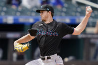 Miami Marlins starting pitcher Trevor Rogers throws in the first inning of a baseball game against the New York Mets, Saturday, April 10, 2021, in New York. (AP Photo/John Minchillo)