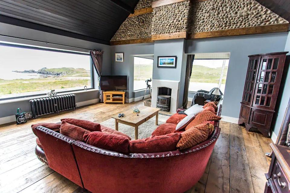 """<p>Take in the sea views in Donegal from this impressive pad at Breasty Bay. The Airbnb boasts a remote setting, with direct and private sea access. The grounds were used for the filming of Star Wars: The Last Jedi too, so you can experience a Hollywood-worthy stay. Basking sharks and dolphins have been spotted in the area and it's a place that wildlife-lovers will appreciate. Inside, there are wonderful spaces to relax and enjoy the views from the large windows.</p><p><strong>Sleeps:</strong> 6</p><p><a class=""""link rapid-noclick-resp"""" href=""""https://airbnb.pvxt.net/0JdgYE"""" rel=""""nofollow noopener"""" target=""""_blank"""" data-ylk=""""slk:SEE INSIDE"""">SEE INSIDE</a><br></p>"""