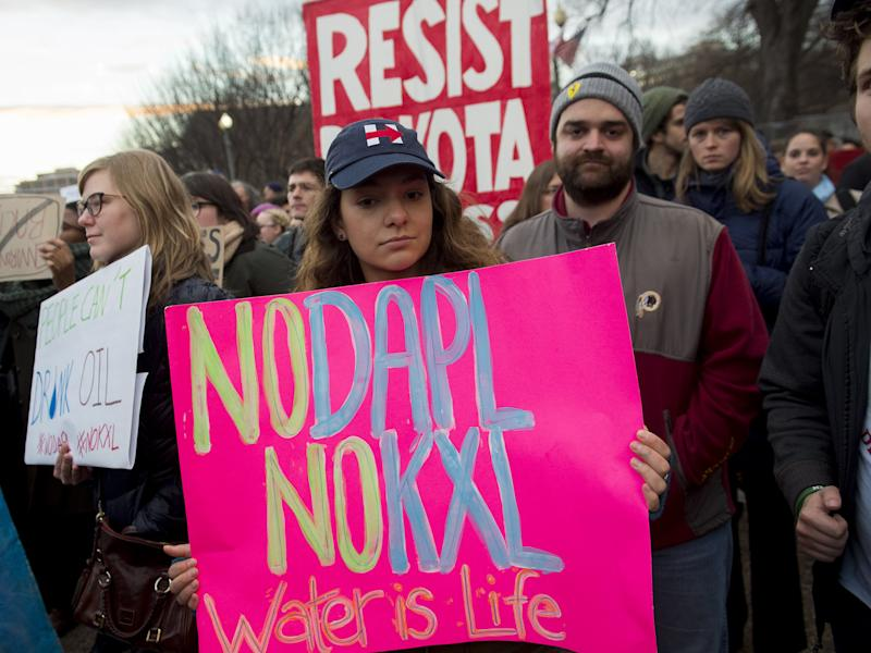 Opponents of the Keystone XL and Dakota Access pipelines hold a rally at Lafayette Park next to the White House in Washington, DC: Getty Images