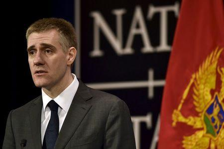 Foreign Minister of Montenegro Igor Luksic speaks during a news conference after a NATO foreign ministers meeting at the Alliance's headquarters in Brussels, Belgium, December 2, 2015. REUTERS/Eric Vidal
