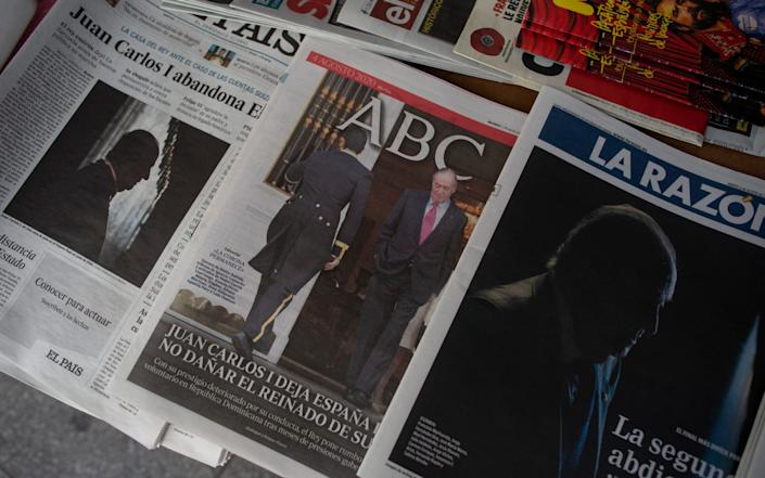 The Spanish papers have been rife with speculation over the former king's whereabouts - Manu Fernandez/AP