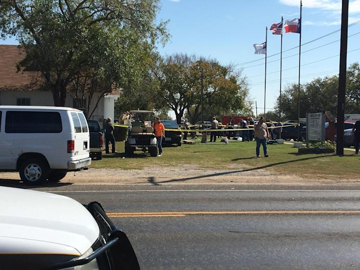 <p>The area around a site of a mass shooting is taped off in Sutherland Springs, Texas, Nov. 5, 2017, in this picture obtained via social media. (Max Massey/ KSAT 12/via Reuters) </p>