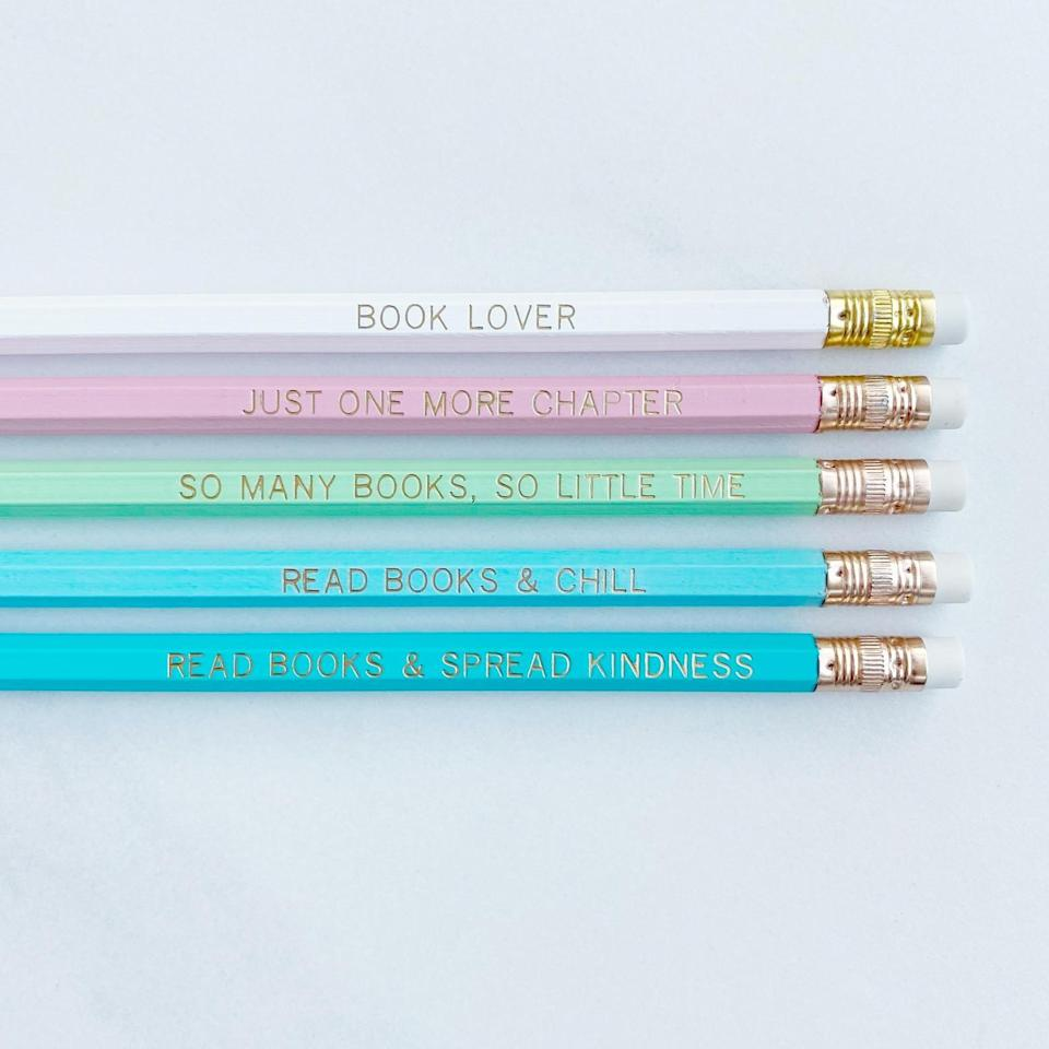 """<p>This pastel <span>Book-Lover Pencil Set</span> ($9) features cute sayings like """"so many books, so little time,"""" """"just one more chapter,"""" and """"read books and spread kindness.""""</p>"""
