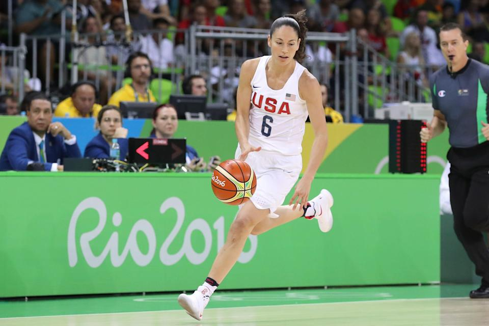 Sue Bird, playing during the 2016 Rio Olympics, has won four Olympic gold medals with Team USA.