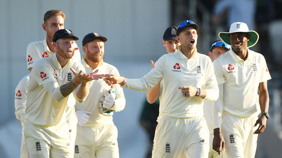 England's players react after taking a wicket during a Test match against India.