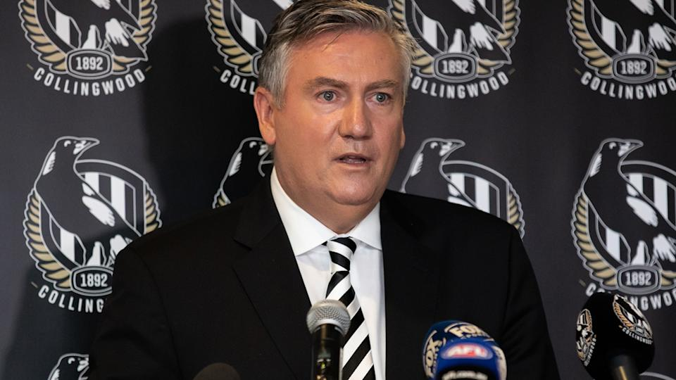 Eddie McGuire, pictured here speaking to the media at Collingwood headquarters.