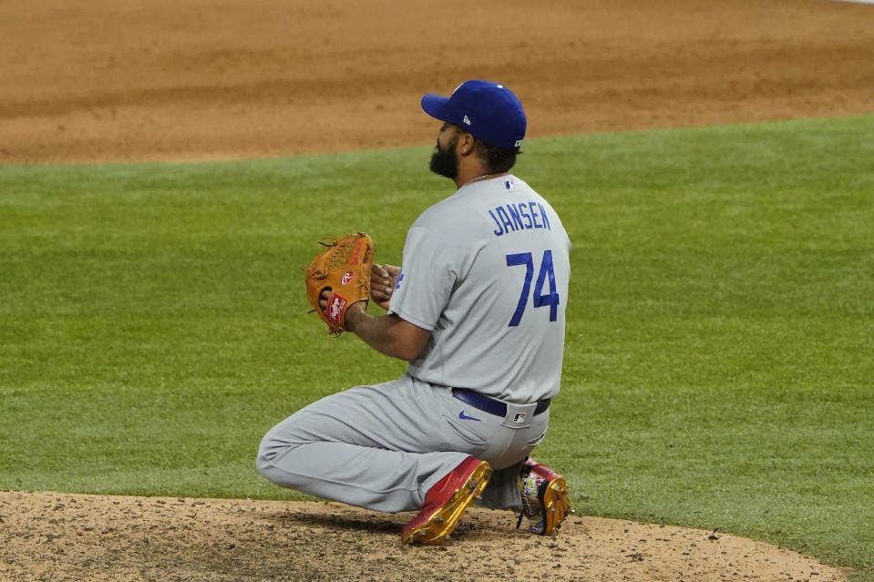 Los Angeles Dodgers relief pitcher Kenley Jansen pacts after their loss against the Tampa Bay Rays in Game 4 of the baseball World Series Saturday, Oct. 24, 2020, in Arlington, Texas. Rays defeated the Dodgers 8-7 to tie the series 2-2 games. (AP Photo/Tony Gutierrez)