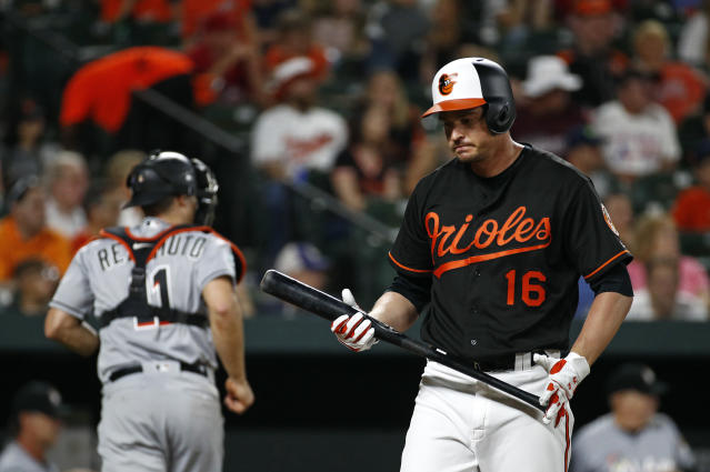 Baltimore Orioles' Trey Mancini (16) walks off the field after striking out swinging in the seventh inning of a baseball game against the Miami Marlins, Friday, June 15, 2018, in Baltimore. (AP Photo/Patrick Semansky)