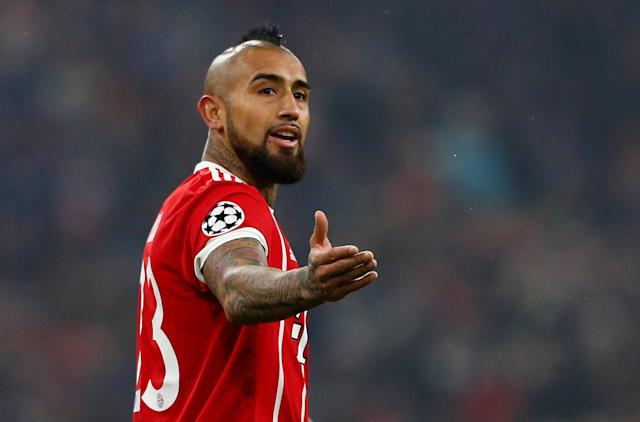 Soccer Football - Champions League Round of 16 First Leg - Bayern Munich vs Besiktas - Allianz Arena, Munich, Germany - February 20, 2018 Bayern Munich's Arturo Vidal gestures REUTERS/Michaela Rehle