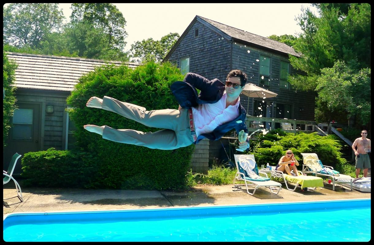 In June, a day by the pool with friends turned into a summertime philosophy!  Check out the slideshow to see the perfected leisure poses as swimmers sail off the diving board!  (Photo: LeisureDive.com)