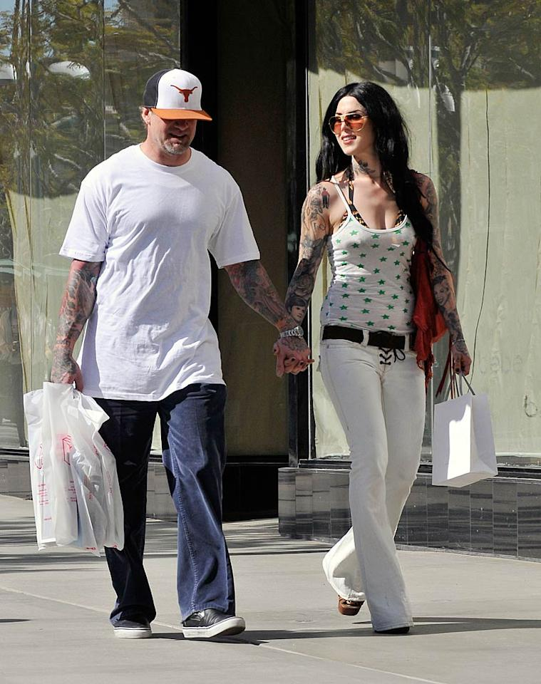 """Birthday girl Kat Von D treated herself to an afternoon of shopping in Santa Monica, California, with fiance Jesse James on Tuesday. Think she marked the big day by getting a new tat? Fern/ <a href=""""http://www.splashnewsonline.com"""" target=""""new"""">Splash News</a> - March 8, 2011"""