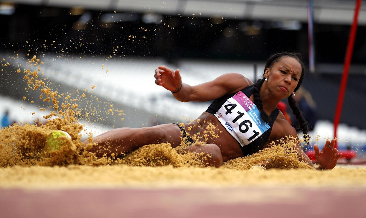 Jade Johnson competes in the Women's Long Jump during the Universities and Colleges Sports Championships at the Olympic Stadium, London.