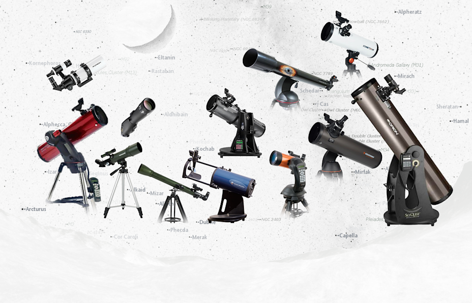 Views of best telescopes against a starmap background.