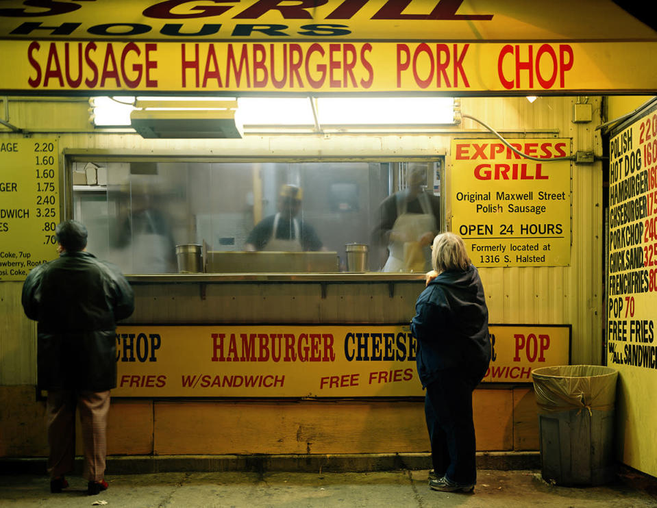 "<div class=""caption-credit""> Photo by: Jen Davis Photo</div>Maxwell Street: ""This was an food stand people would go to after class. I wanted to capture how uncomfortable it was for me to order food in public and have people judge me on the types of food I put into my body,"" says <a href=""http://jendavisphoto.com/"" rel=""nofollow noopener"" target=""_blank"" data-ylk=""slk:Davis"" class=""link rapid-noclick-resp"">Davis</a>. <br>"