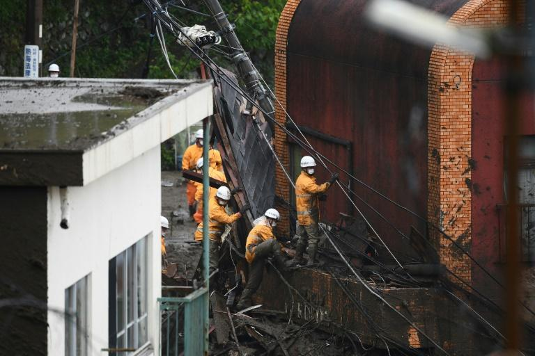The highest evacuation alert was issued on Saturday to Atami