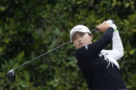 Jin Young Ko tees off at the second hole during the second round of the LPGA's Hugel-Air Premia LA Open golf tournament at Wilshire Country Club Thursday, April 22, 2021, in Los Angeles. (AP Photo/Ashley Landis)