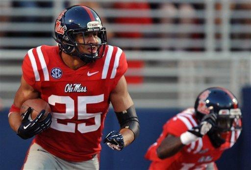 Mississippi defensive back Cody Prewitt (25) intercepts a pass in the end zone against UTEP during an NCAA college football game Saturday, Sept. 8, 2012, in Oxford, Miss. (AP Photo/The Oxford Eagle, Bruce Newman)