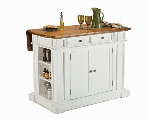 """<p><strong>Home Styles</strong></p><p>amazon.com</p><p><strong>$621.83</strong></p><p><a href=""""https://www.amazon.com/dp/B003KY2KNI?tag=syn-yahoo-20&ascsubtag=%5Bartid%7C10060.g.37130942%5Bsrc%7Cyahoo-us"""" rel=""""nofollow noopener"""" target=""""_blank"""" data-ylk=""""slk:Shop Now"""" class=""""link rapid-noclick-resp"""">Shop Now</a></p><p><strong>• Dimensions: </strong>49.75 x 26.5 x 36.5<strong><br>• Countertop: </strong>Wood</p><p>This kitchen island has an average of 4.6 stars from more than 1,550 reviewers on Amazon, and it's easy to see why with just a glance. The timeless construction features distressed oak finishes and raised details on the cabinet doors. The island comes in white, oak and black finish. </p><p>Each island features durable hardwood, antique nickel hardware, a drop-leaf extension, a gliding storage drawer, adjustable interior shelving and open storage on both ends for pantry essentials. Counter stools up to 24 inches can be paired with the island. </p><p>Reviewers love the quality, and say that putting it together takes a few hours, despite the """"overwhelming"""" look of the initial box delivery. </p>"""