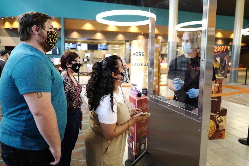 <p>Customers are seen buying tickets at AMC DINE-IN Thoroughbred 20 on August 20 in Franklin, Tennessee.</p>