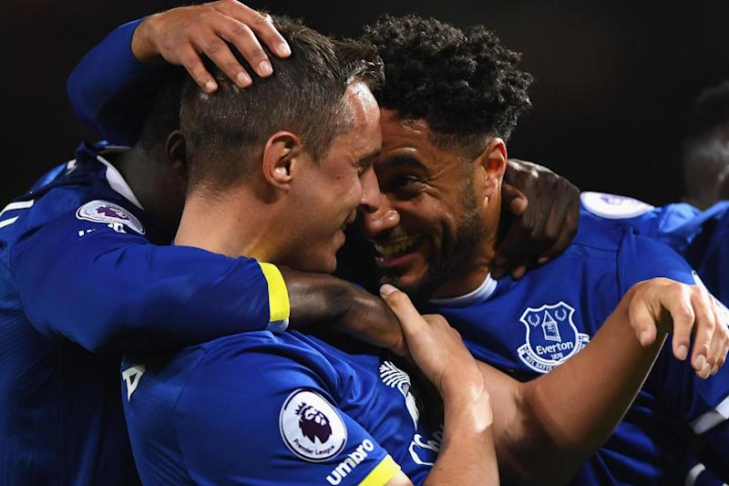 On target: Everton celebrate Phil Jagielka's goal