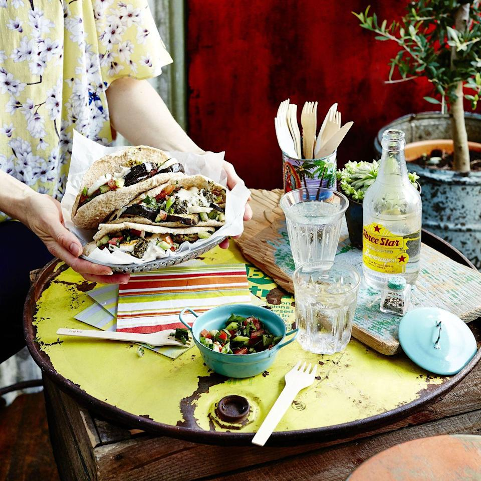 """<p>This Israeli-inspired stuffed pitta is so delicious and crunchy – think of it as the new falafel!</p><p><strong>Recipe: <a href=""""https://www.goodhousekeeping.com/uk/food/recipes/a32303155/aubergine-sabich/"""" rel=""""nofollow noopener"""" target=""""_blank"""" data-ylk=""""slk:Aubergine Sabich"""" class=""""link rapid-noclick-resp"""">Aubergine Sabich</a></strong></p>"""