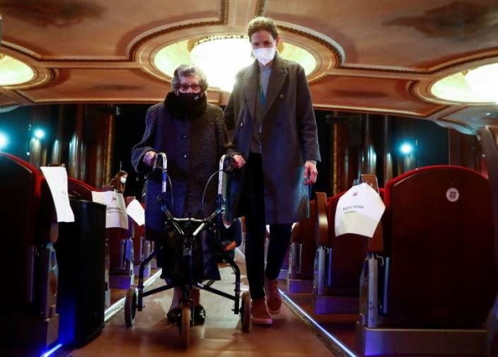 Nursing home resident and workers attend a special theatre show in Madrid