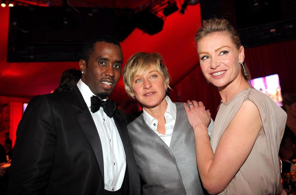 "Sean Combs , <a href=""http://movies.yahoo.com/movie/contributor/1800018906"">Ellen DeGeneres</a> and <a href=""http://movies.yahoo.com/movie/contributor/1800025640"">Portia de Rossi</a> attend the 16th Annual Elton John AIDS Foundation Oscar Party at the Pacific Design Center in West Hollywood - 02/24/2008"