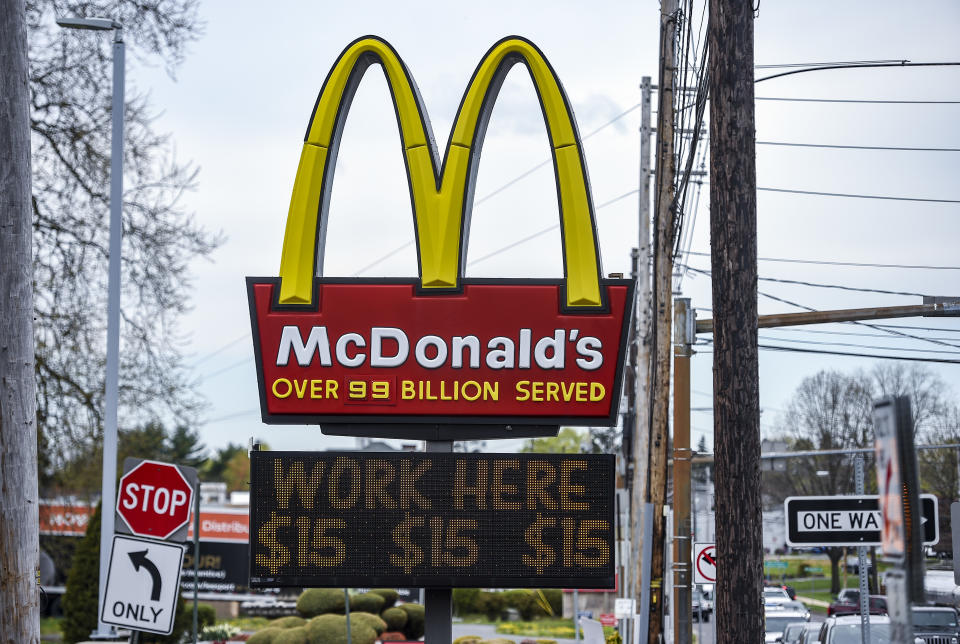 Sinking Spring, PA - April 19: The sign at the McDonald's restaurant on Penn Ave in Sinking Spring, PA April 19, 2021 with a message on a board below it that reads
