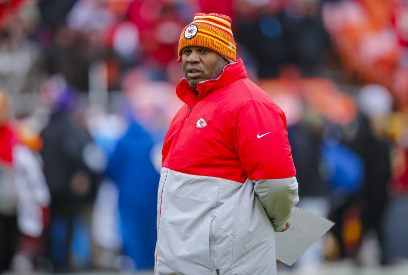 Eric Bieniemy is Kansas City's latest successful offensive coordinator. He is not, to date, its latest head coaching product. (Photo by David Eulitt/Getty Images)