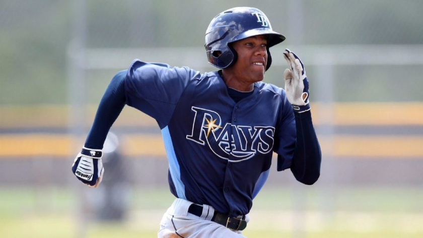 Brandon Martin runs the bases during an extended spring training game with the Tampa Bay Rays organization.