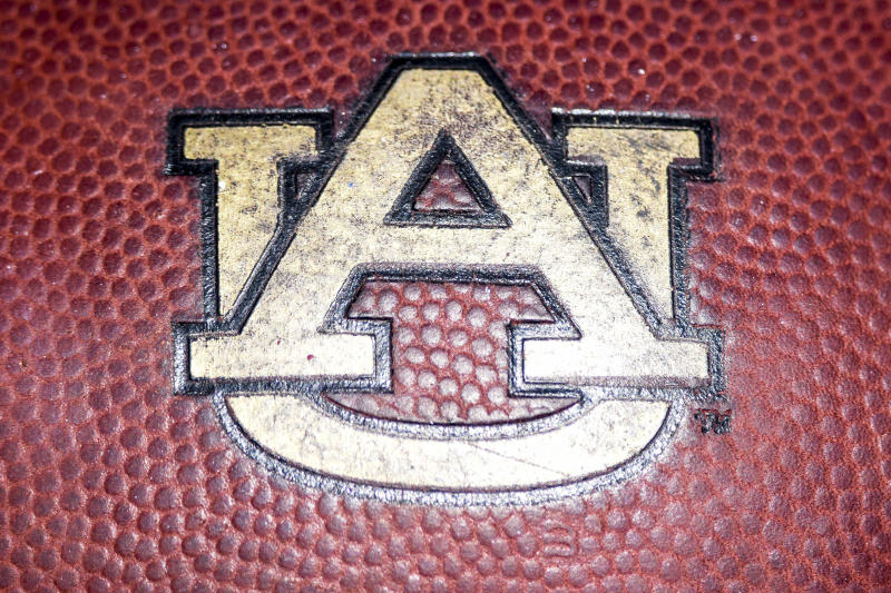 08 October 2016: An Auburn Tigers logo on a football during the Auburn Tigers 38-14 win over the Mississippi State Bulldogs game at Davis Wade Stadium in Starkville, Mississippi. (Photo by Andy Altenburger/Icon Sportswire via Getty Images).