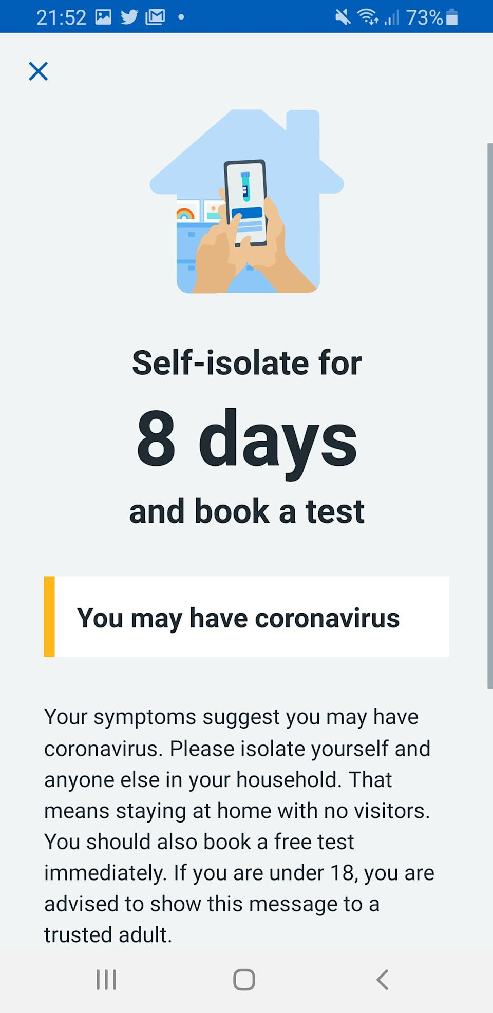 "A screenshot from the coronavirus contact tracing app which is launching across England and Wales in what the Health Secretary has called ""an important step forward"" in our fight against the ""invisible killer""."